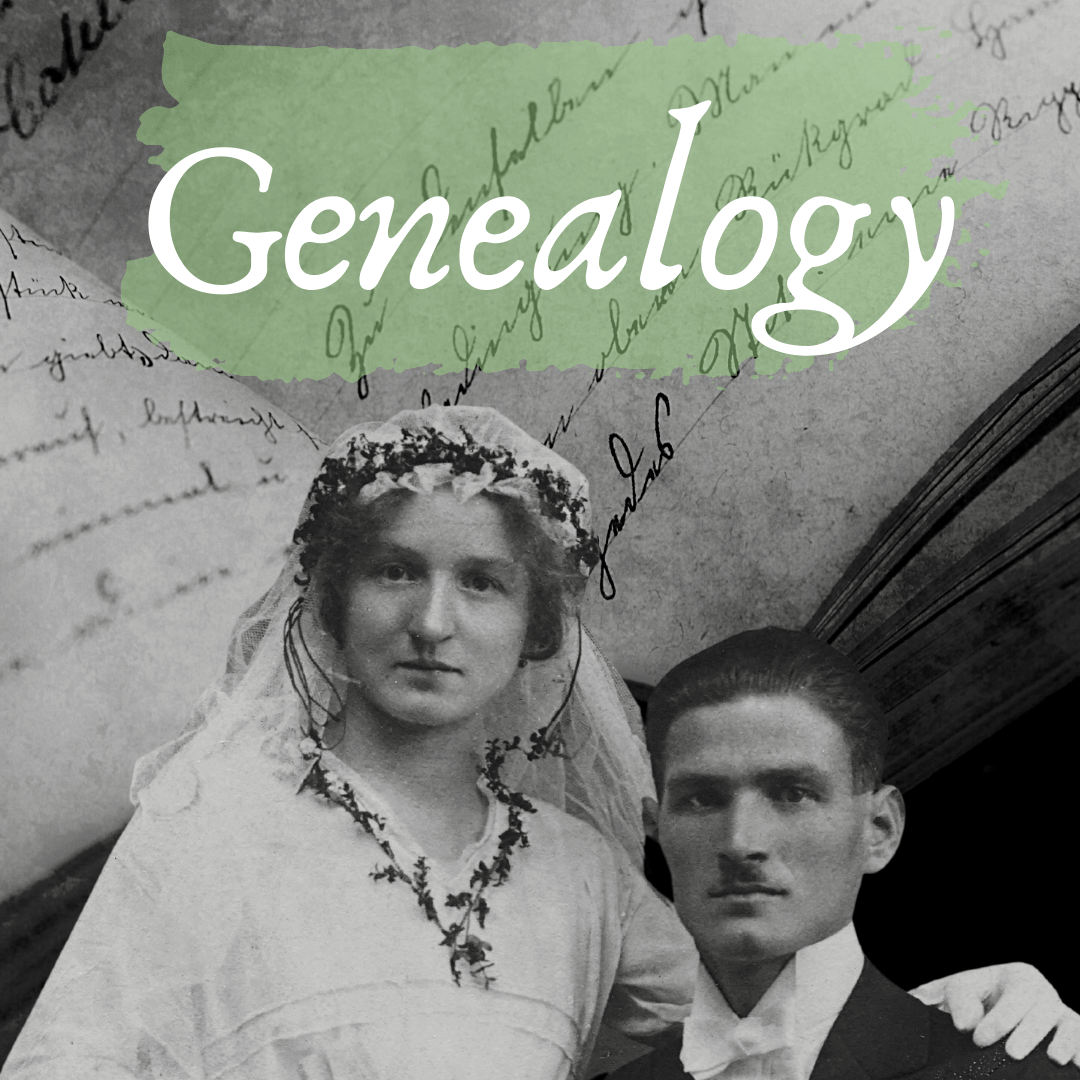 genealogy with black and white image of bride and groom